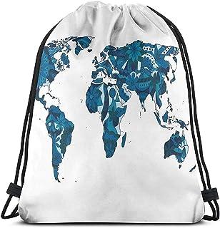 Mochila de cuerda con cordón, bolsa de cordón florece en tonos azules continentes de la Tierra con plantas ecológicas ornamentadas para deporte, bolsa de gimnasio, bolsa de viaje