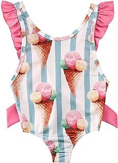 Carolilly Costume da Bagno Neonata Bambina Costume Intero Stampa Gelato Senza Schienale Spiaggia Mare