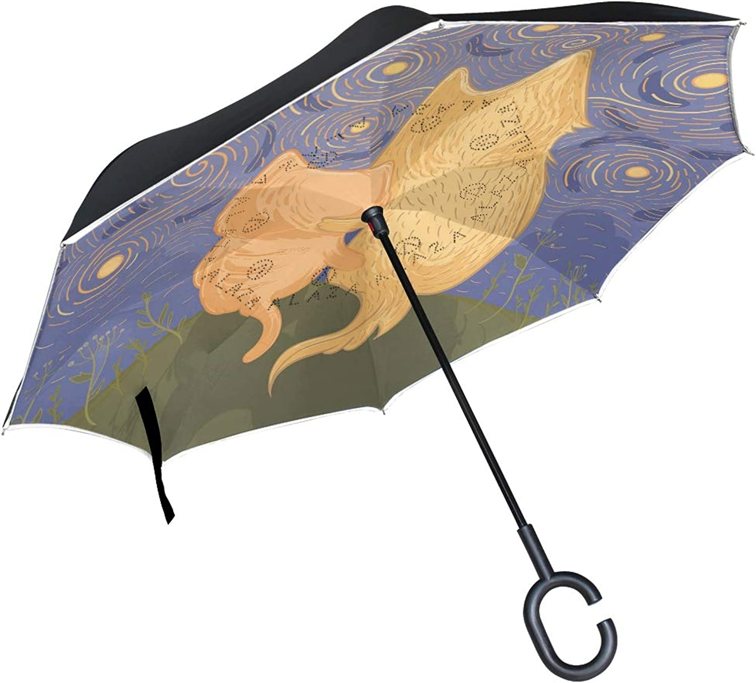 Senya Ingreened Umbrella Loving Cat Painting Double Layer Car Reverse Umbrellas Folding Windproof Predection with CShaped Handle