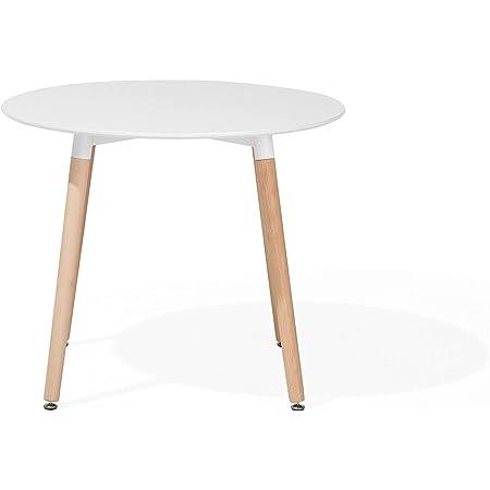 Table de Salle à Manger - Table de Cuisine - Blanc - 90 cm - Bovio