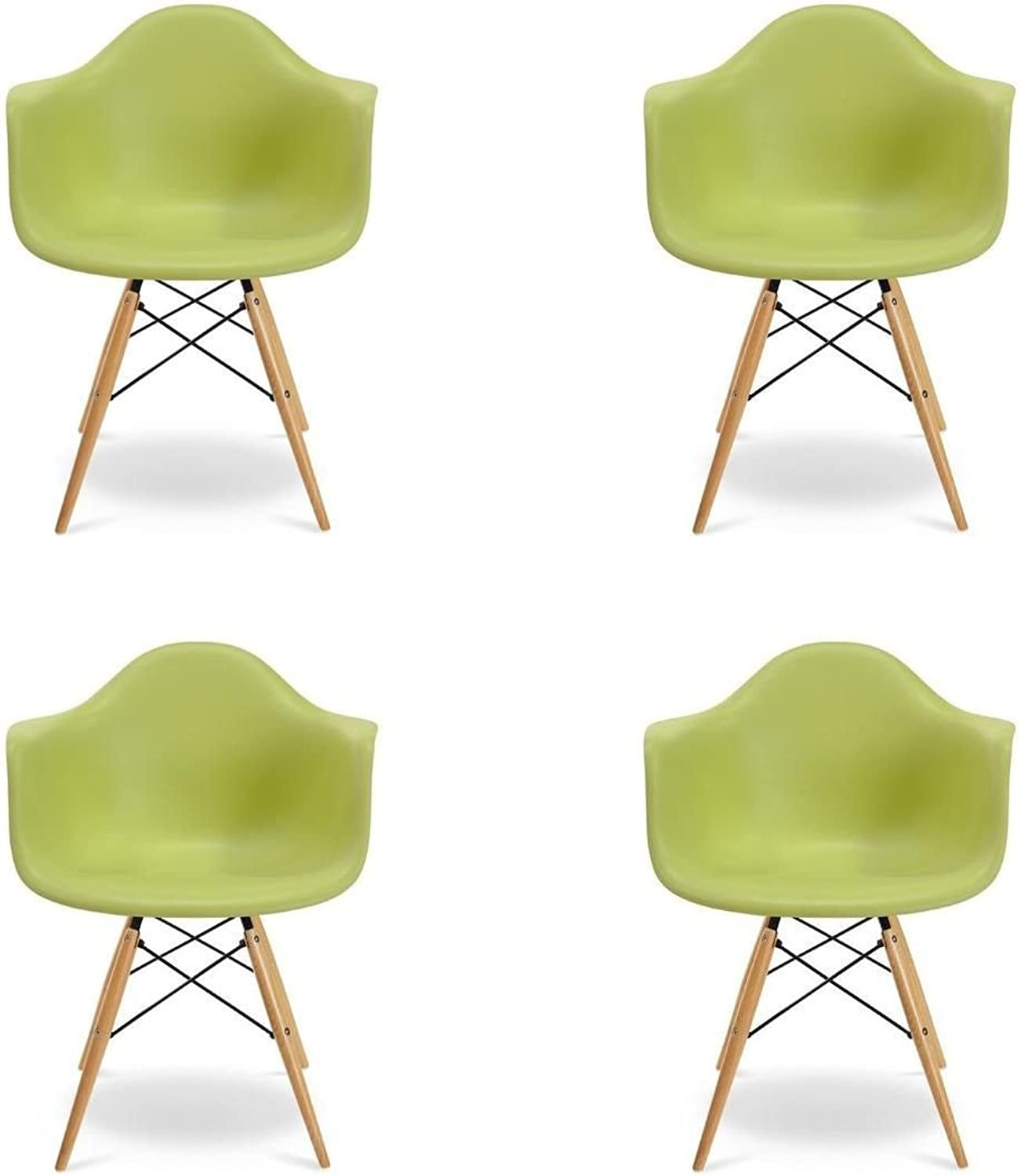 Meubles House S4-PC-0119-G Mid-Century Modern Eiffel Style Kids Bucket Chair with Chrome Legs (Set of Four), Green