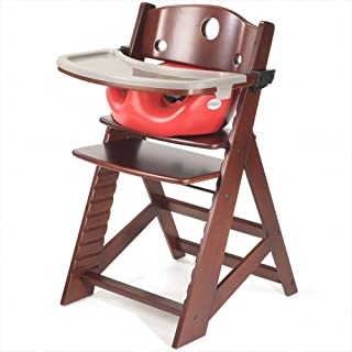 Height Right High Chair with Infant Insert & Tray, Mahogany/Cherry