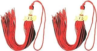 Fugift Borla de graduación académica de 40 cm con borla de graduación de 2020, accesorios para graduados (marrón + dorado)