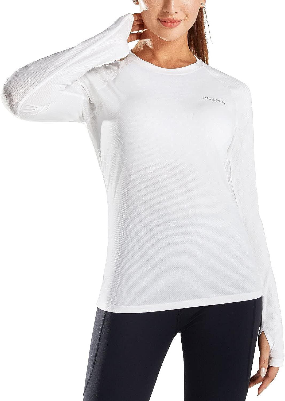 BALEAF Women's UPF 50+ Long Sleeve Workout Shirts Quick Dry Breathable Lightweight T-Shirts Running Yoga Hiking