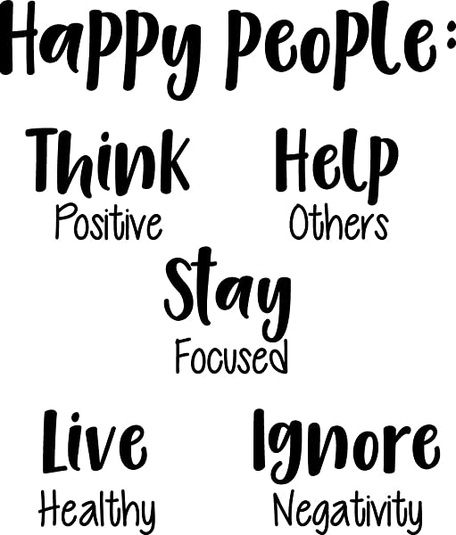 Vinyl Wall Art Decal Happy People Think Help Stay Live Ignore 27 X 23 Inspirational Workplace Bedroom Apartment Decor Decals Positive Indoor Outdoor Home Living Room Office Quotes
