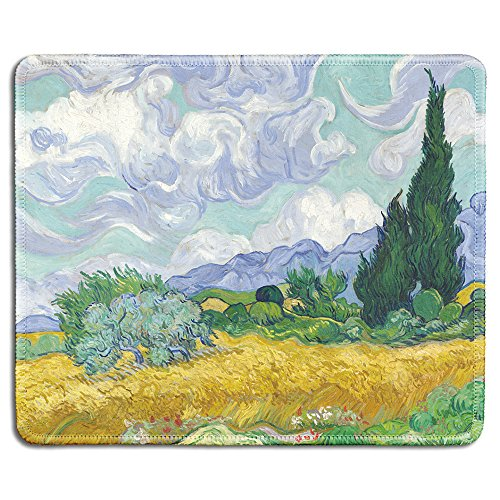 dealzEpic - Art Mousepad - Natural Rubber Mouse Pad with Famous Fine Art Painting of Wheat Field with Cypresses by Vincent Van Gogh - Stitched Edges - 9.5x7.9 inches