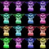 Baby Yoda Lámpara de mesa de ilusión 3D 7/16 colores Star Wars Luz nocturna...