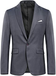 Allthemen Mens Slim Fit Casual Blazer Formal Business Suit Jackets 1 Button Single Breasted Wedding Tuxedo Smart Blazer