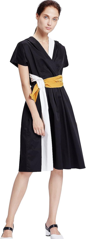 My Bun 2017 Summer Women Fashion Contrast color Plus Size V Neck Short Sleeve Patchwork Aline Dresses