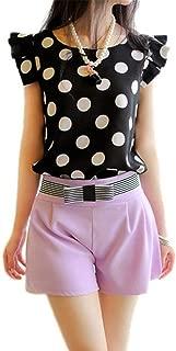 Fashion Girl Women Casual Chiffon Shirt Short Sleeve Shirt Summer Tops Black White