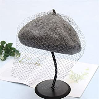 SHENTIANWEI and Winter Bud Painter Cap hat British Retro Elegant Noble net Yarn Beret Female Tide (Color : Grey, Size : Adjustable)