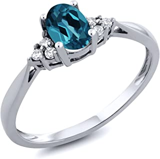 14K White Gold London Blue Topaz and Diamond Women's Ring 0.56 cttw (Available 5,6,7,8,9)