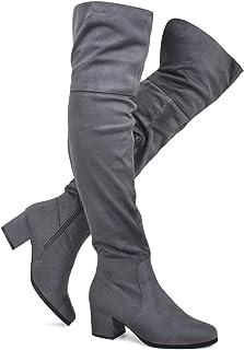 0cb1e08e9e4d Premier Standard - Women s Over The Knee Stretch Boot - Trendy Low Block  Heel Shoe -