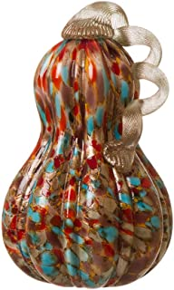 Glitzhome Handblown Golden/White Glass Gourd Table Accent for Fall & Harvest Thanksgiving Decorating (9.06 Inch)