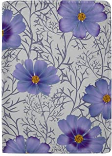 Beautiful Blue Purple Wild Flowers Blocking Print Passport Holder Cover Case Travel Luggage Passport Wallet Card Holder Made with Leather for Men Women Kids Family