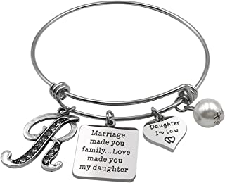 FOXJWEL Daughter in Law Initial Bracelet Marriage Made You Family Love Made You My Daughter Gift for Her