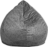 Ink Craft Printed Bean Bag Chair: Large Beanbag Chairs with Removable Cover for Kids, Teens and Adults - Polyester Cloth Puff Sack Lounger Furniture for All Ages (Metallic Grey, XL)