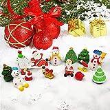 IGRMVIN 27 PCS Micro Adornos Navideños Decoraciones de Resina Adornos en Miniatura Muñeco de Nieve Mini Papá Noel Miniatura Árbol de Navidad para Mesa Navidad Fiesta Jardín DIY