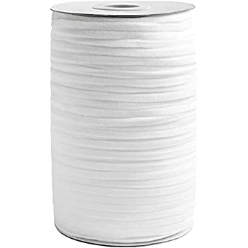 Elastic Band String, High-Comfort and Skin-Friendly Elastic Rope, Length-125 Yards (114 Meters), Width-1/4 Inch (0.6 mm), Color-White
