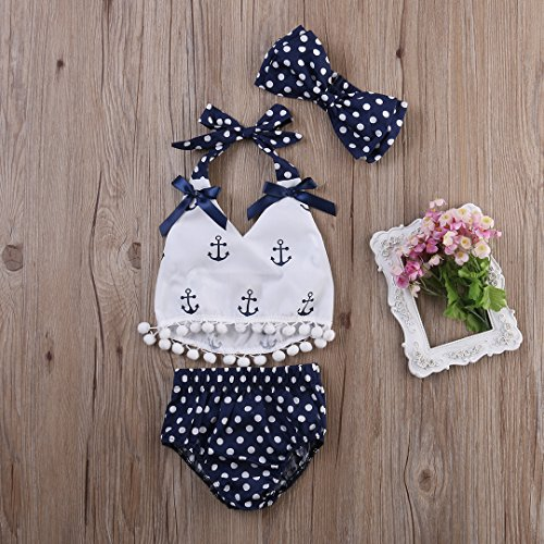 Infant Baby Girls Clothes Anchor Tops+Polka Dot Briefs Outfits Set Sunsuit 0-24M