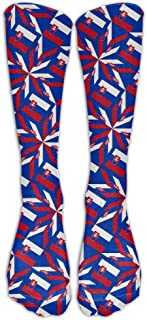 Womens Stylish High Socks Slovakia Flag Artascope Flower Compression Soccer Splints Warm Tube Stockings for Veins,Travel,Running,Pregnancy,Shin,Medical