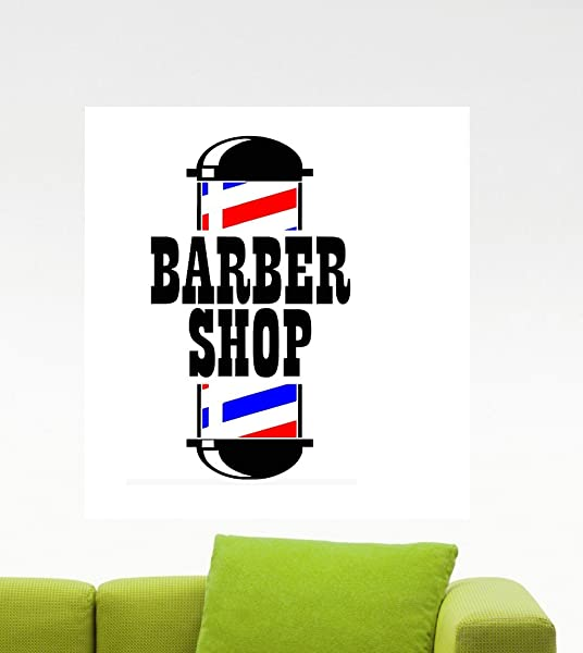 Large Three Color Barber Shop Logo Removable Vinyl Window Decal Sticker Hair Haircut Hairdressing Salon Decorations Wall Art Decor 23 W X 40 T