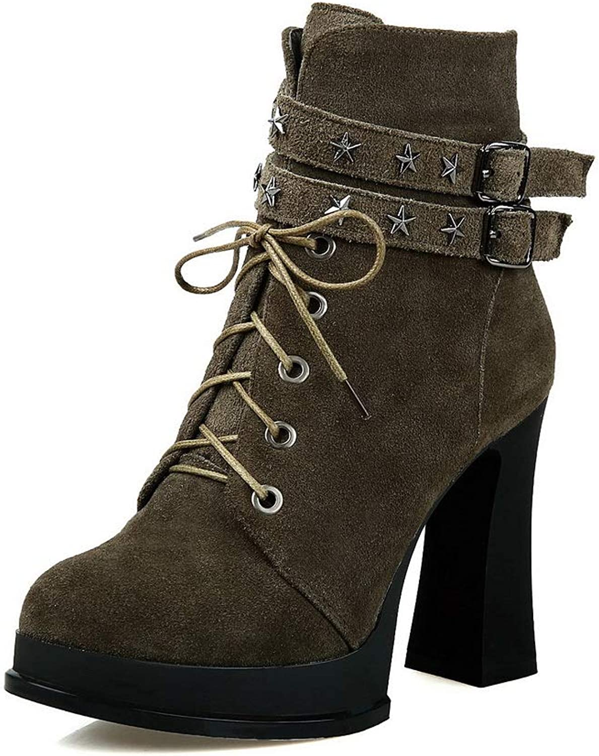 1TO9 Womens Solid Platform Bucket-Style Urethane Boots MNS03090