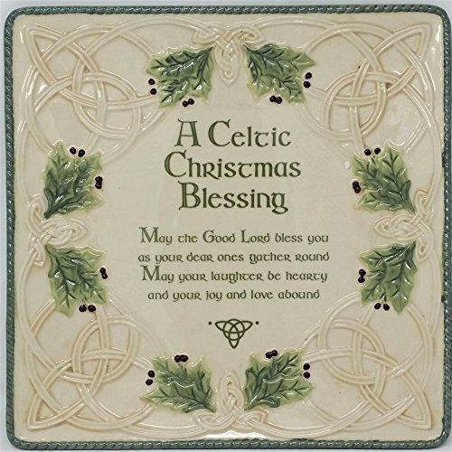 Grasslands Road Celtic Ceramic Gift Boxed Christmas Blessing Platter, 10'/Large, Green/Lime/Cream/White/Red/Black