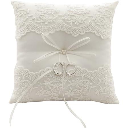 Cuscino ricamato per fedi nuziali, fantasia floreale, con fiocchetto, 21 cm x 21 cm (Avorio 2)