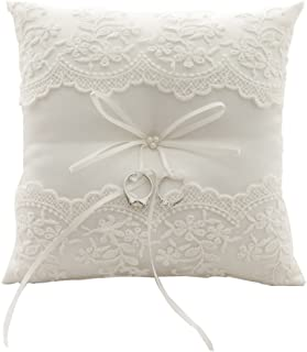 21cm * 21cm Bow Wedding Ring Pillow Cushion, Embroidered Flowers–Ivory