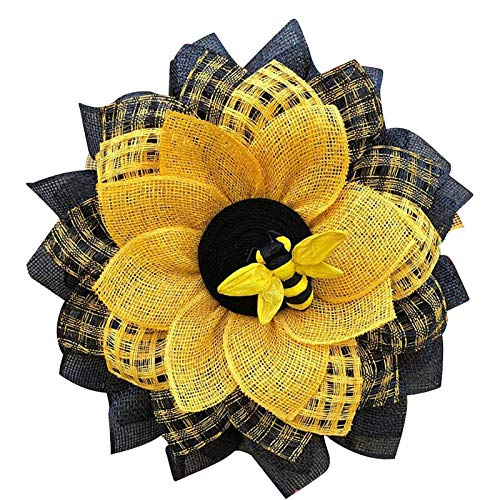 SVHK Bee Day Party Decorations Wreath, Front Door Wreath for Leaf Bee Sunflower Artificial Wreath World Bee Day Mesh Garland for Party Farmhouse Wedding Wall Decor Sunflower Hanging Pendants Ornaments