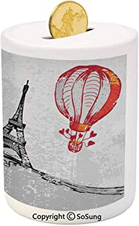 SoSung Eiffel Tower Decor Ceramic Piggy Bank,I Love Paris Romance Hot Air Balloon with Hearts Doodle Style Print Image 3D Printed Ceramic Coin Bank Money Box for Kids & Adults,Red Black Gray