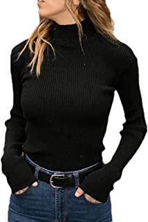 Womens Casual Turtleneck Slim Fit Knit Long Sleeve Pullovers Sweater