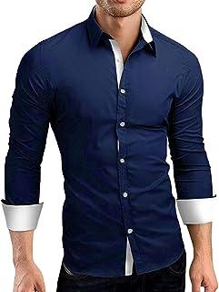 Blusa De Hombre Liquidación Otoño Oferta Formal Casual Sólido Mode De Marca Slim Fit Camisa De Vestir De Manga Larga Top B...