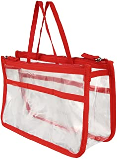 Clear PVC Cosmetics Bag Make-up Bags Organizers Portable Carry on Travel Toiletry Bag with Two Outside Storage Bags Makeup Quart Luggage Pouch Handbag Organizer for Vacation Travel Bathroom (Red)