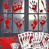 HJWL Decoraciones de Halloween de Huella de Mano sangrienta - 80 Piezas de Adornos de Ventana de Halloween, sangrienta Adhesivos de Piso con Pegatinas de Tatuajes, Decoraciones de Fiesta de Halloween
