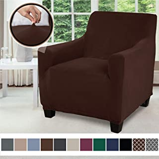 Gorilla Grip Original Velvet Fitted 1 Piece Chair Slipcover, Stretch Up to 23 Inches, Soft Velvety Covers, Luxurious Armchair Slip Cover, Spandex Chairs Furniture Protector, with Fasteners, Chocolate