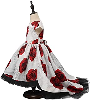 SEASHORE Girls 3-8 Years Bowknot Long Princess Dress Satin Flower Girl Wedding Costume Piano Performance Clothing (Color : Multi-Colored, Size : 6-7Years)
