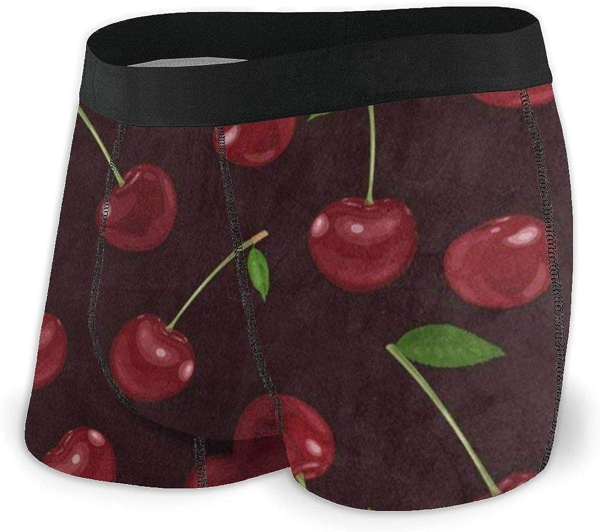 Mens Boxer Briefs Vintage Cherry Fruit Retro Breathable Underwear