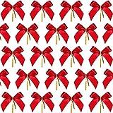 Sumind 48 Pezzi Fiocco di Natale Rosso Nastro Fiocco Albero di Natale, Ghirlanda di Natale, Decorazione (3 x 2.94 Pollici)