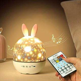 CAMPSLE Proyector de luz de noche estrellada, lámpara de noche musical para niños y bebés con 6 películas de proyección, carga USB giratoria para cumpleaños, Halloween, regalos de Navidad