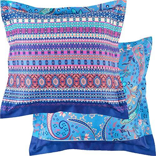 Bassetti Burano Funda de cojín, Algodón, B1, Color Azul, 40 x 40 cm