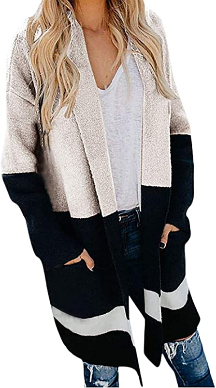 Ultramall Women Casual Stripe Pocket Long Sleeve Loose Knitting Sweater Cardigans Coat