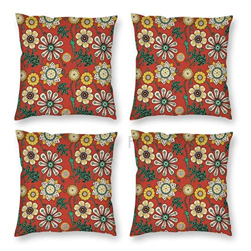 Pillow Covers 18 x 18 Inch Set of 4, Floral Petals And Leaves Flourishing Nature Scroll Design, Burnt Orange Sea Green Decorative Throw Pillow Case Cushion Cover for Sofa Couch Sofa Home Decor
