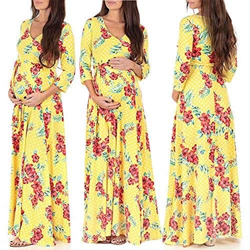 Snakell Damen Umstandskleid Schwangere BöHmen Mutterschaft Kleid Knielang Schwangerschaftskleider Umstandsmode Umstandskleider Umstandskleid Schwangerschaft Stillshirt Stillzeit Top Schwangere