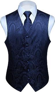 HISDERN Men's Paisley Waistcoat Floral Jacquard Necktie Pocket Square Handkerchief Wedding Party Business Fit Vest Suit Se...
