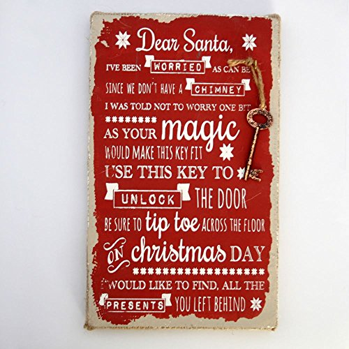 Père Noël magique Porte clés plaque déco No cheminée