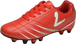 Larcia Kids' Indoor Soccer Cleats - Little Boys & Girls Turf Shoes for Football - Red