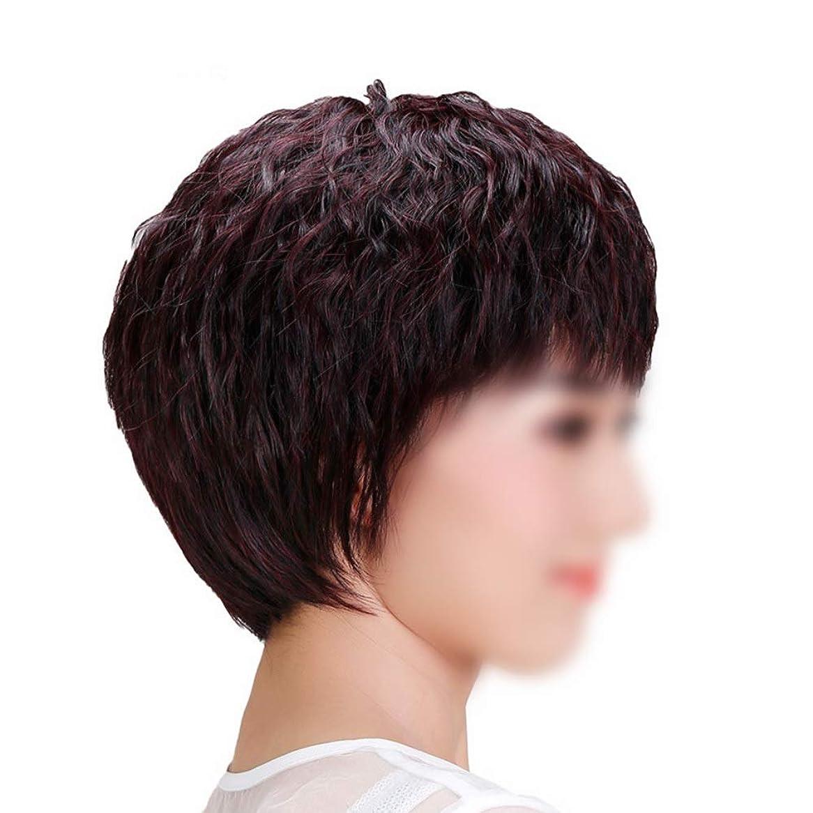 ヘルパースリッパ敵意YOUQIU 手織り女子ショートストレートヘアー中年ウィッグ母のギフトウィッグのための自然な人間の髪 (色 : Dark brown, サイズ : Mechanism)