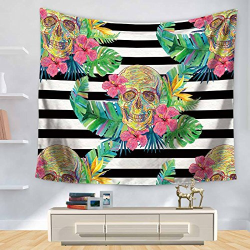 KHKJ Tapiz de Hojas Verdes Tapiz Colgante de Pared Planta Tropical Impreso tapices Hippie psicodélicos decoración del hogar Manta de mantón A6 150x130cm